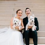 chicago bride and groom with pups
